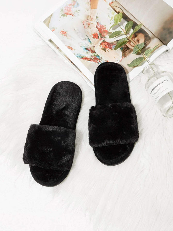 Lux Faux Fur Slip-On Slippers
