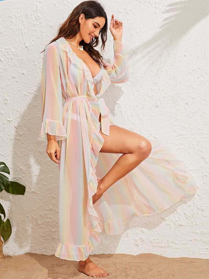 Over the Rainbow Semi Sheer Belted Kimono