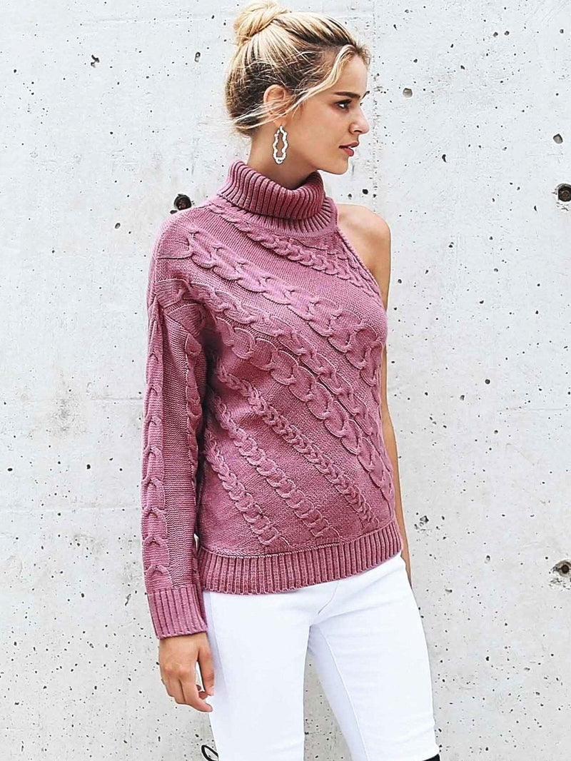 Cardi Sleeve Shoulder High Neck Cable Knit Sweater