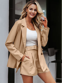 Business or Pleasure Double Button Blazer & Belted Shorts Set