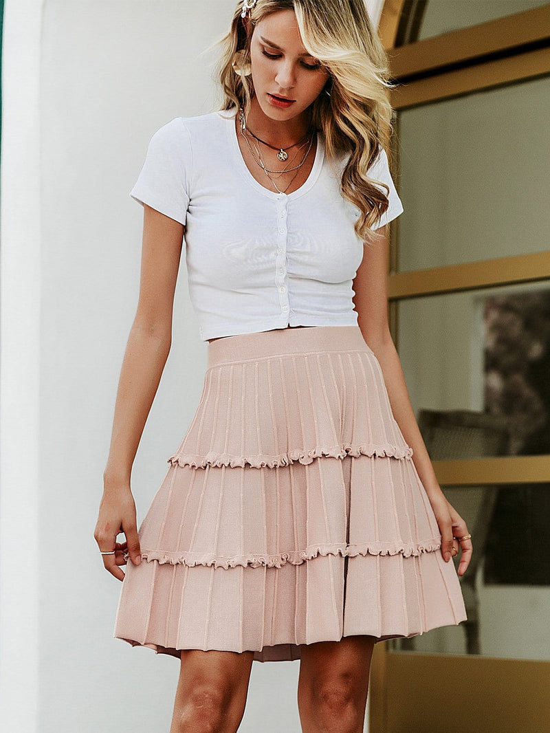Broadway Solid Frill Trim Pleated Skirt
