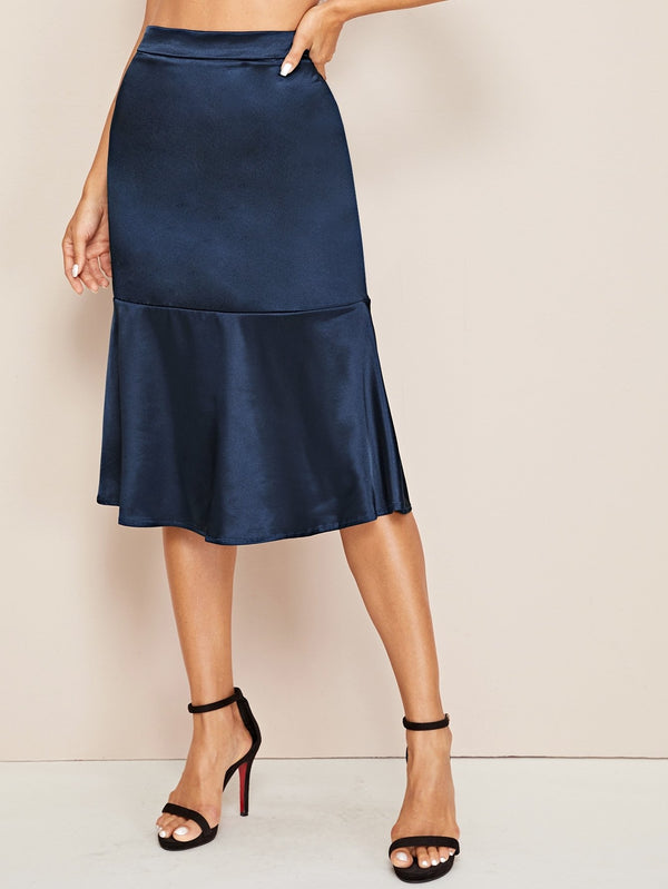 Facing The Blues Silk Midi Skirt