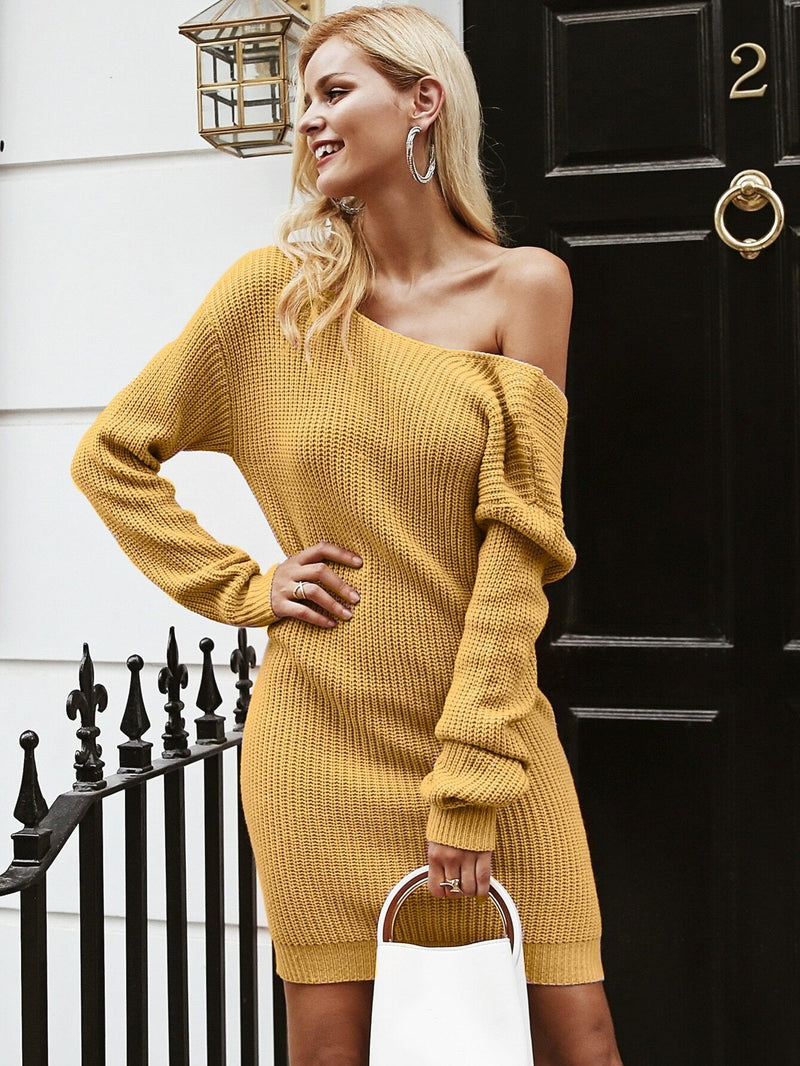 Back Off Drop Shoulder Sweater Dress