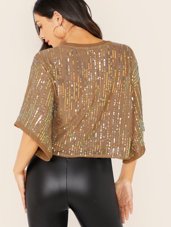 Future Is Bright Sequin Mesh Top