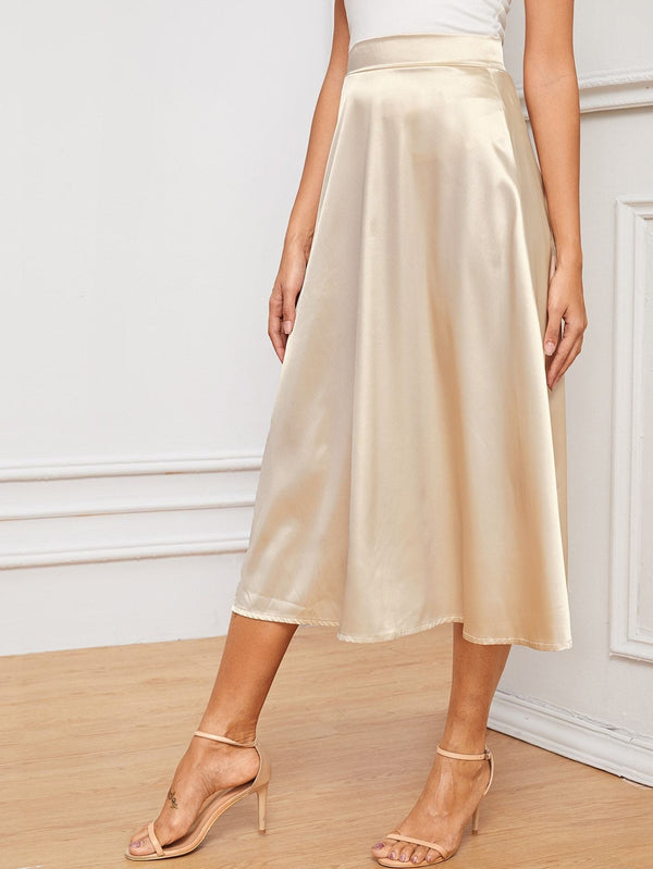 Bubbly Toast Flared Silk Midi Skirt