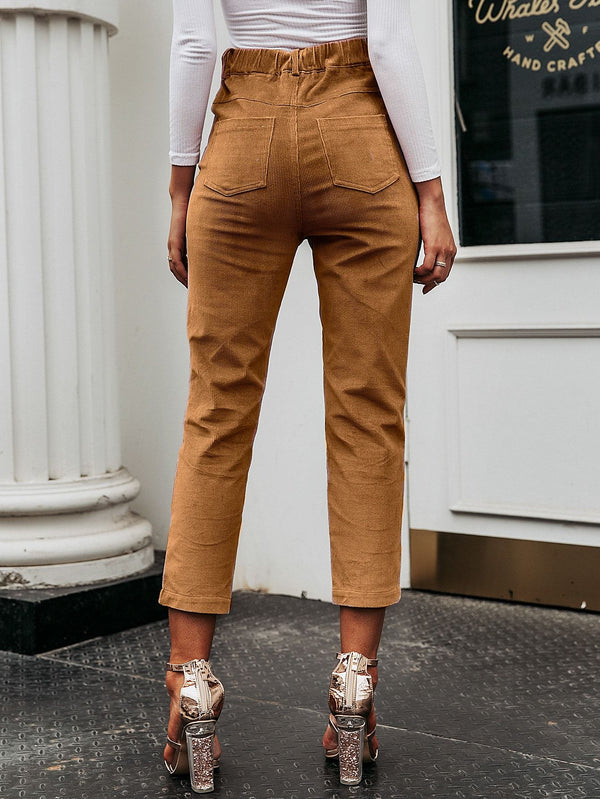 I'll Walk Corduroy Crop Cigarette Pants