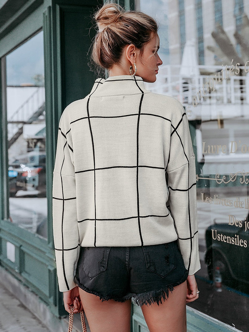 Grid Iron Drop Shoulder Sweater