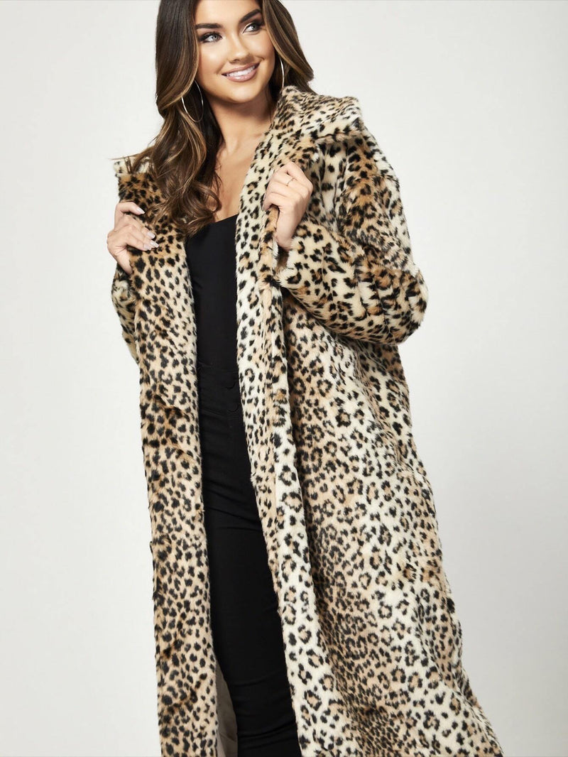 Watch Your Back Leopard Faux Fur Coat