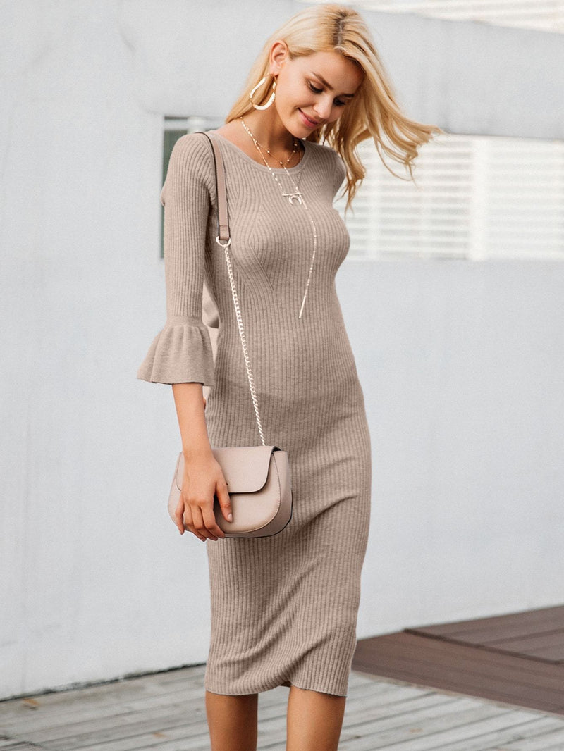 Hold My Calls Rib-knit Bodycon Sweater Dress