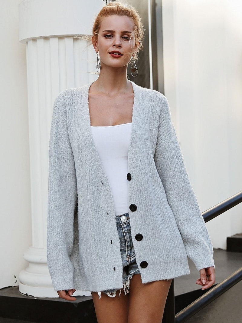 Valid Point Rib-knit Oversized Cardigan