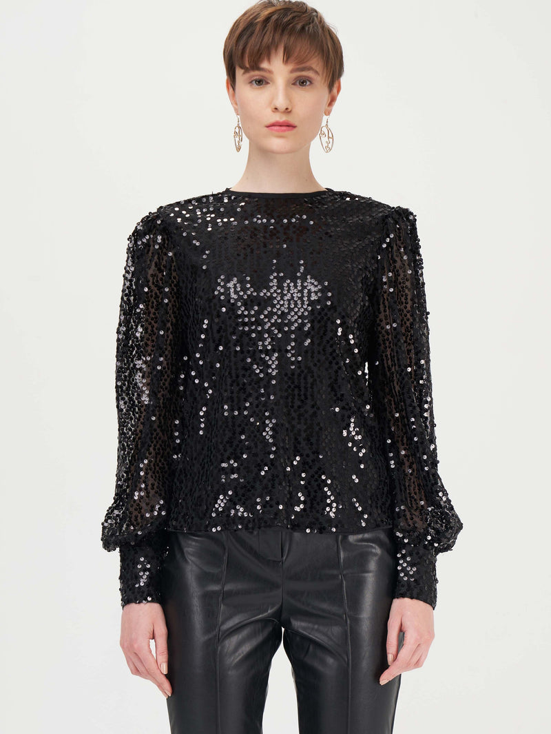 Puff Puff Pass Sequin Mesh Top