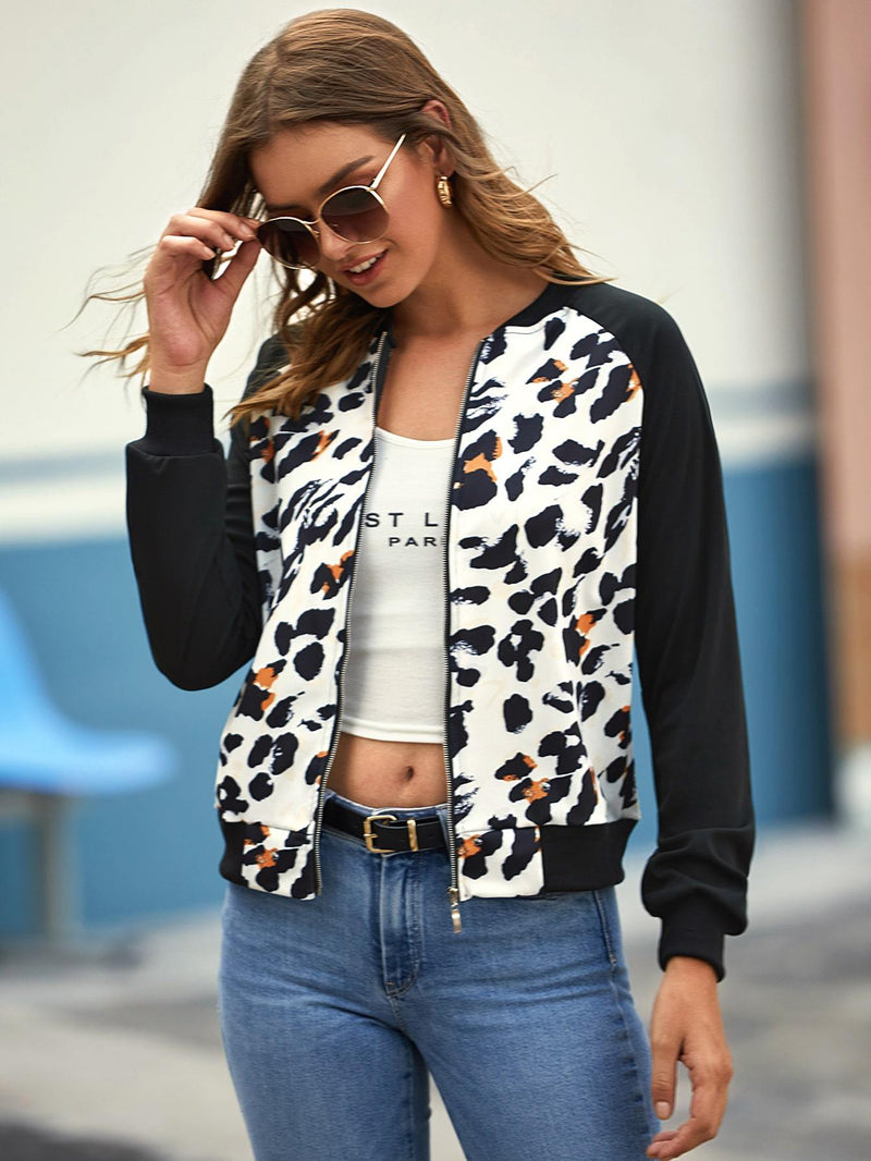 Sugar & Chic Graphic Print Bomber Jacket