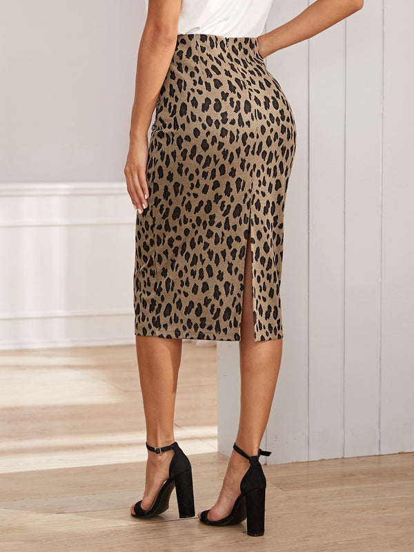 Don't Sweat It Leopard Zip Back Pencil Sweater Skirt