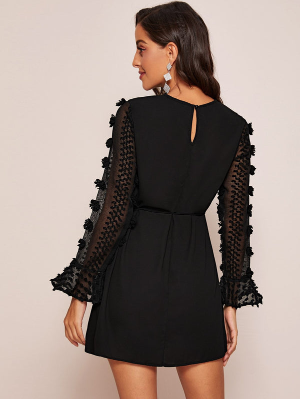 LBD Ruffle Cuff Tie Waist Dress