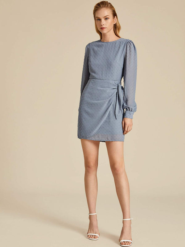 Icy Blue Wrap Knotted Dress