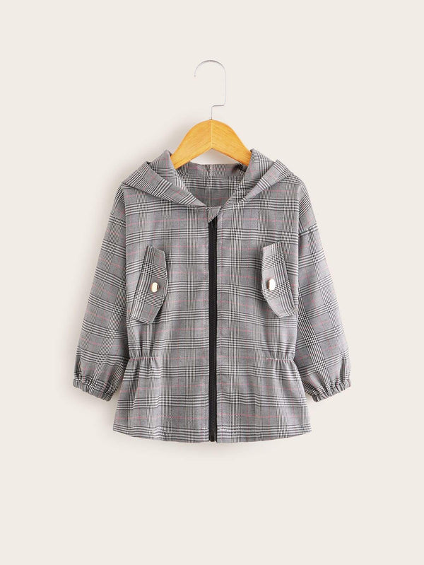 Plaid  Zip Up Hooded Jacket