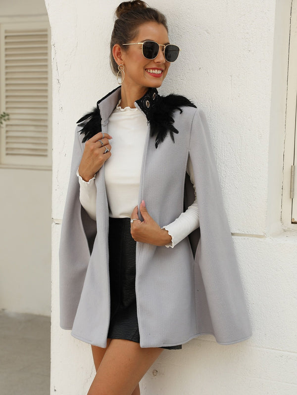 Ruffle My Feathers Tweed Cape Coat