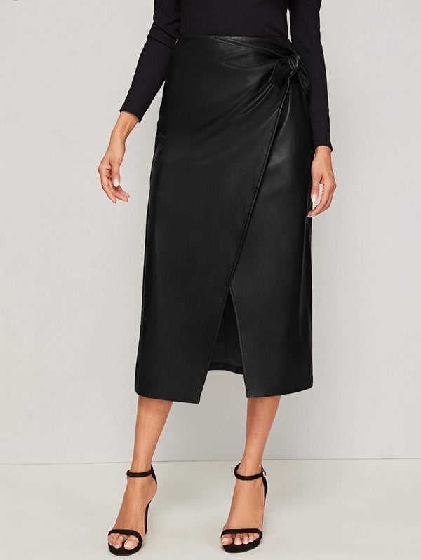 Knox Knot Side Wrap Leather Skirt