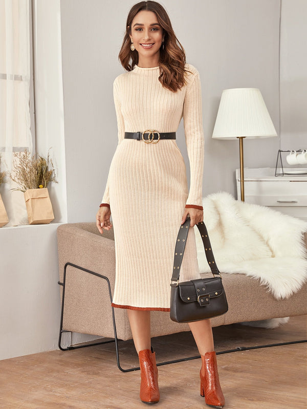 City of Gold Rib-knit Sweater Dress Without Belt