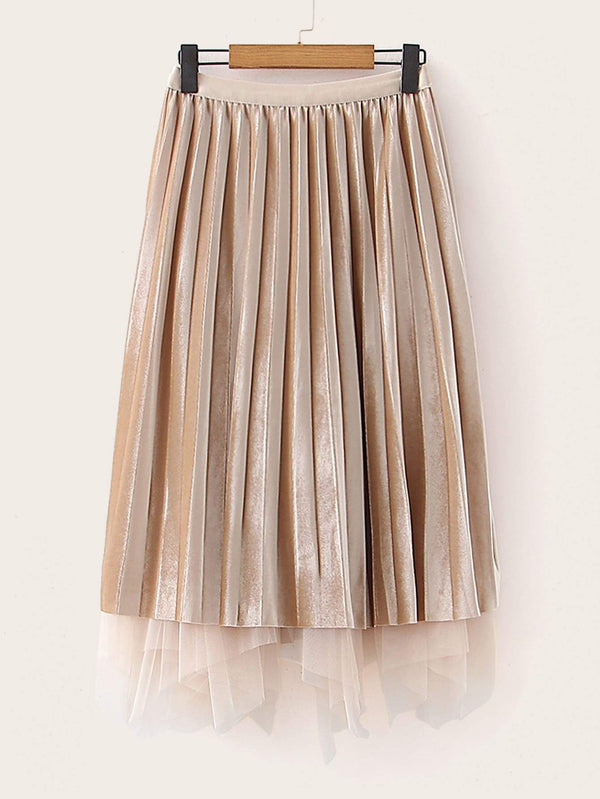 Jette Sette Pleated Velvet Skirt