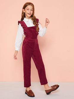 Pull The Cord Ruffle Trim Jumpsuit - Little Girls