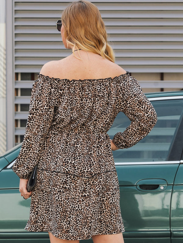 Lady in Leopard Ruffle Dress