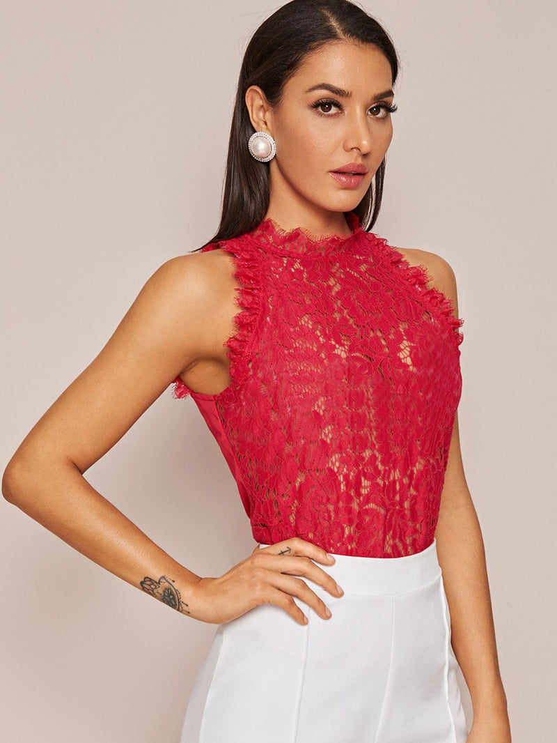 SHEIN Sheer Lace Sleeveless Top Without Bra