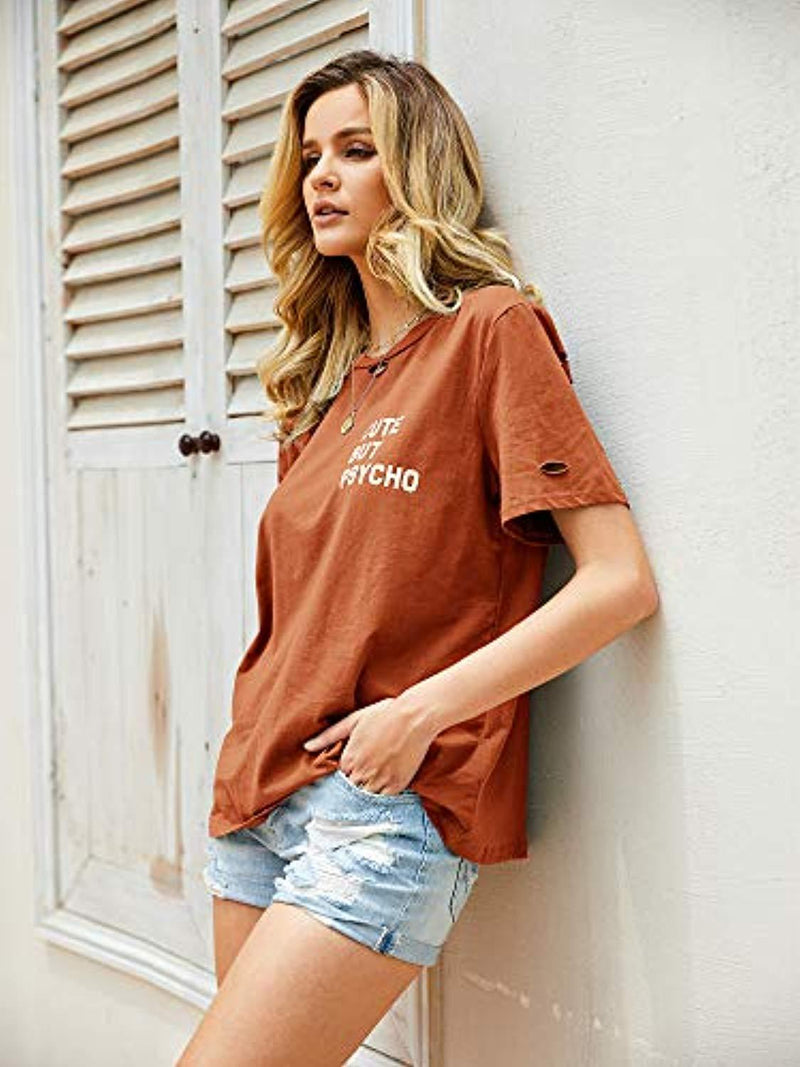 Cute But Psycho Womens Distressed Tee