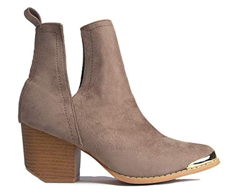 Tess Western Bootie - Slip On V-Cut Out Metal Tipped Stacked Heel Boot