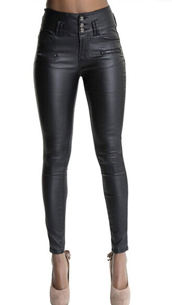 Petra Faux Leather Pants High Waisted Skinny Coated Leggings