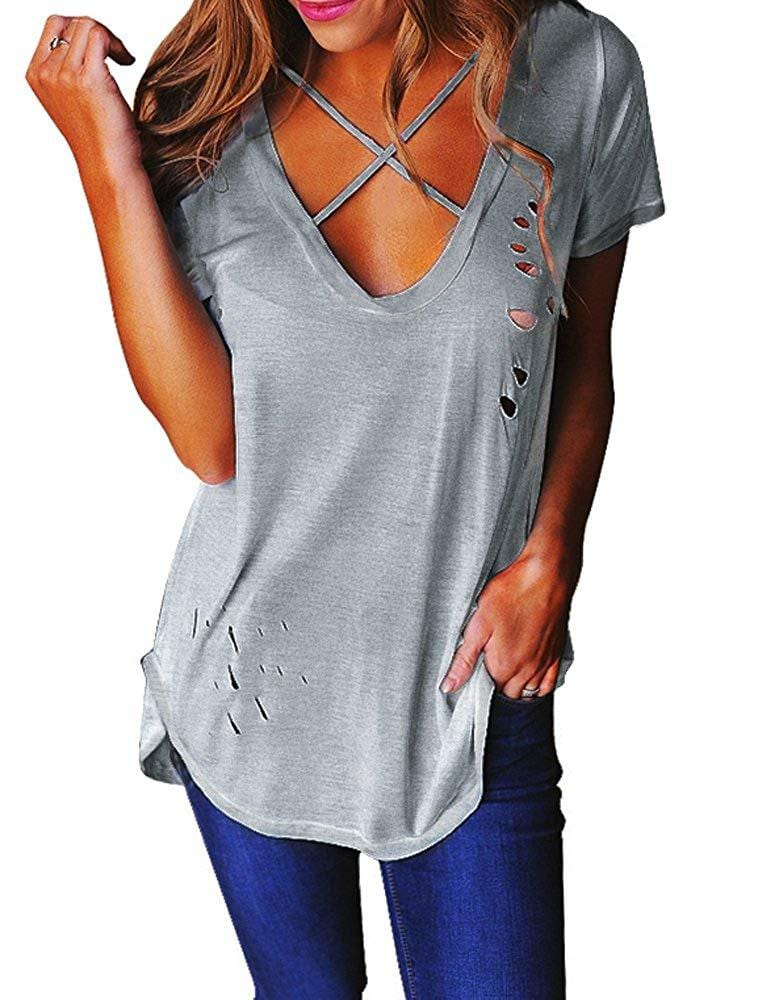 Criss Cross Distressed Top