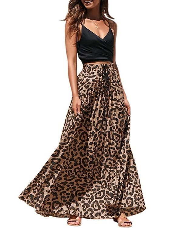 Running Free Leopard Print Long Skirts Drawstring High Waisted Bohemian Maxi Skirt