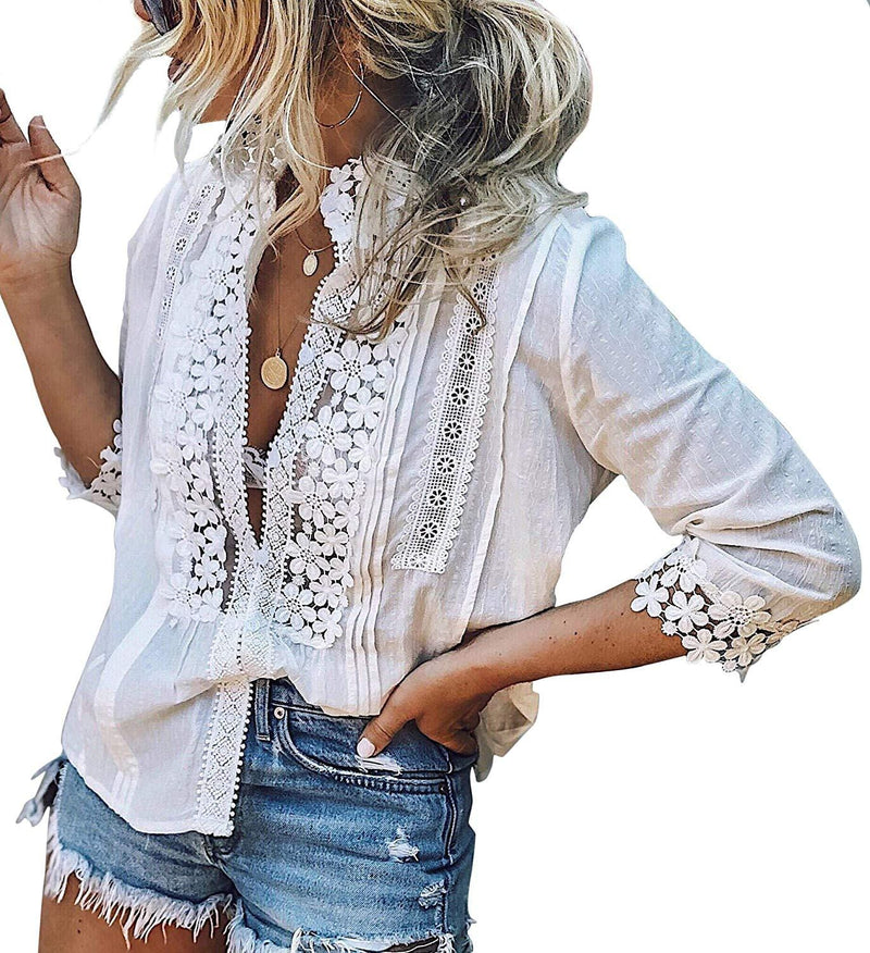 Laced Up Embroidered Top