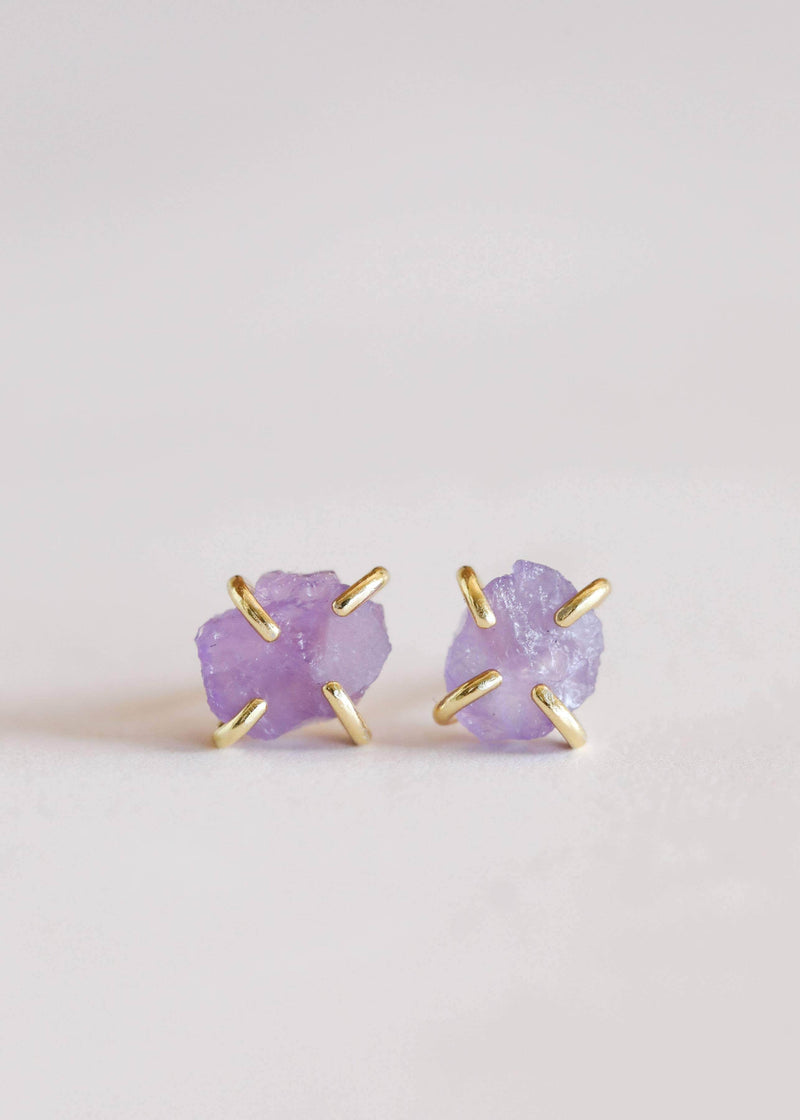 JaxKelly - Amethyst Gemstone Prong Earrings