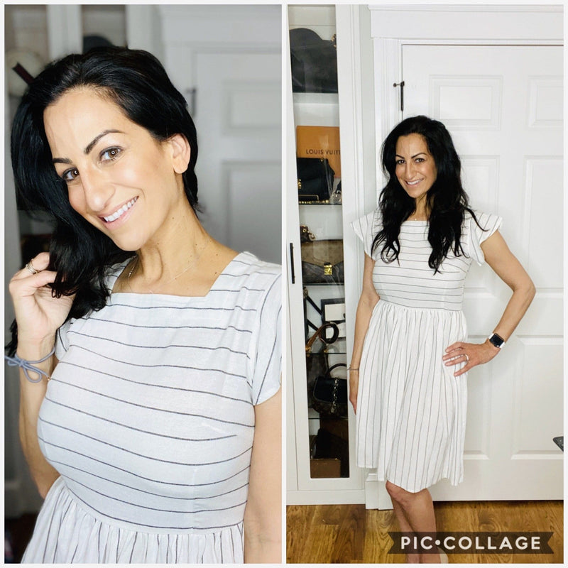 White/Black Striped Dress