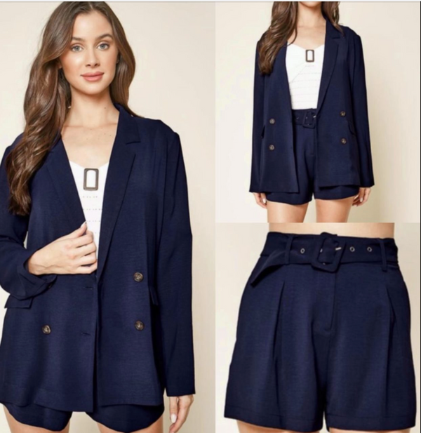 Boss Navy Dress Shorts