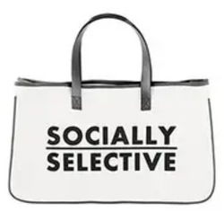 Socially Selective Large Canvas Tote Bag