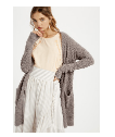 100 Purple Listicle Chunky Knit Open Cardigan
