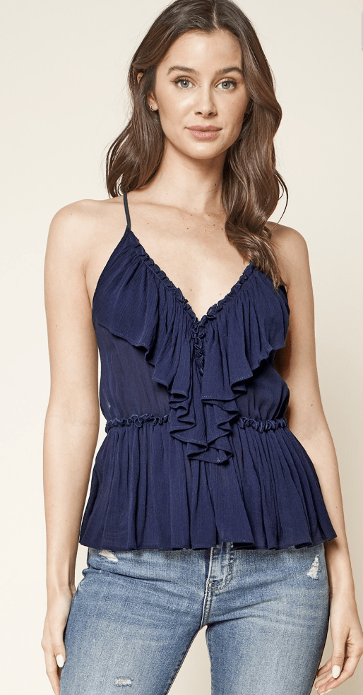 Good News Plunging Ruffle Cami - Preorder