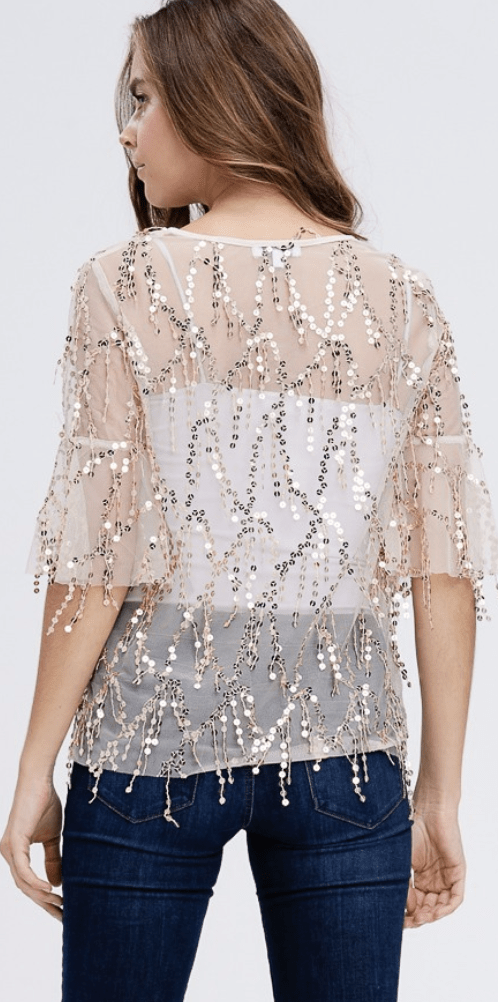 Sequin Detailed Trumpet Sleeve Mesh Top - Preorder