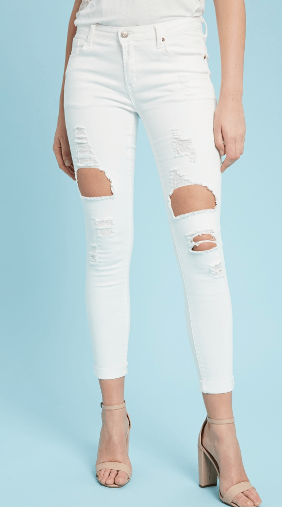 White Hot Destroyed Denim - Preorder