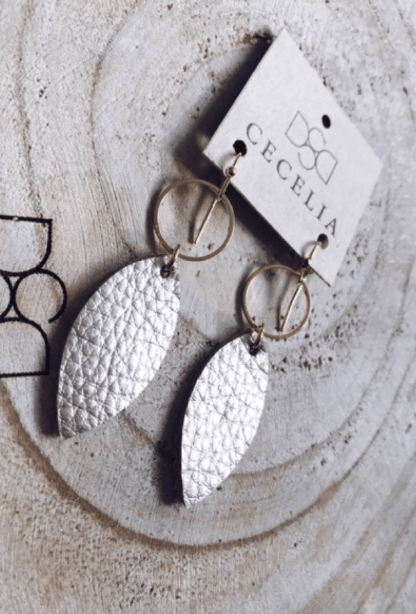 Champagne Leather Earrings - Preorder