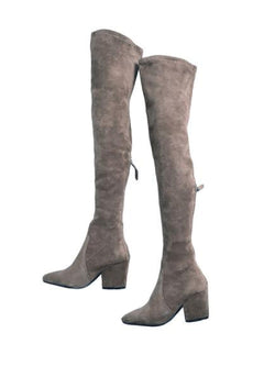 Pretty & Polished Taupe Over The Knee Suede Leather Boots