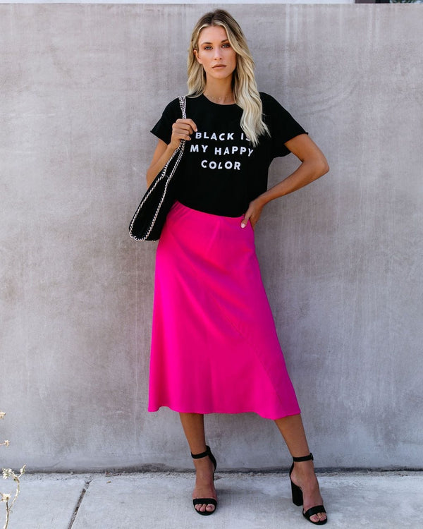Memory Lane Satin Midi Skirt - Fuchsia