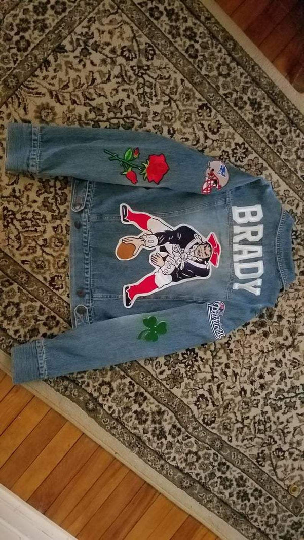 Custom Denim New England Patriots football Tom Brady jersey/shirt style patch/patchwork game day denim jean jacket S/M/L/XL