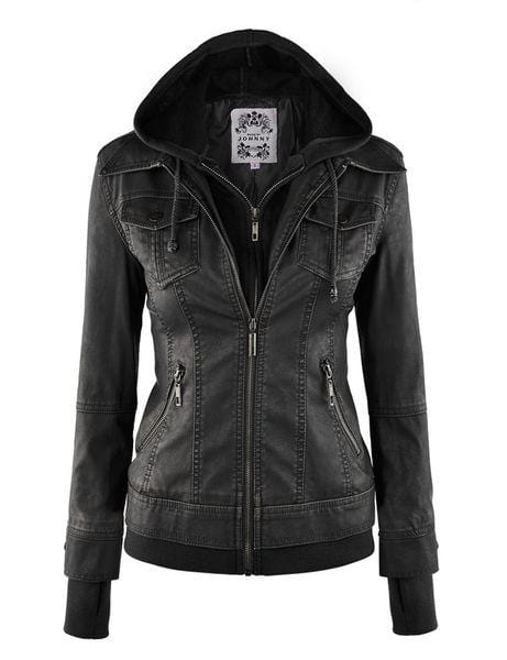 Johnny Hooded Faux Leather Jacket