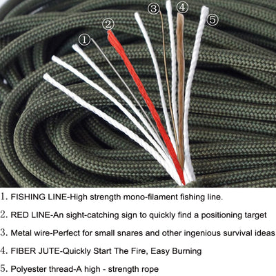 Survival 550 Paracord With Tinder, Fishing Line, Heat Resistant Paracord 100ft