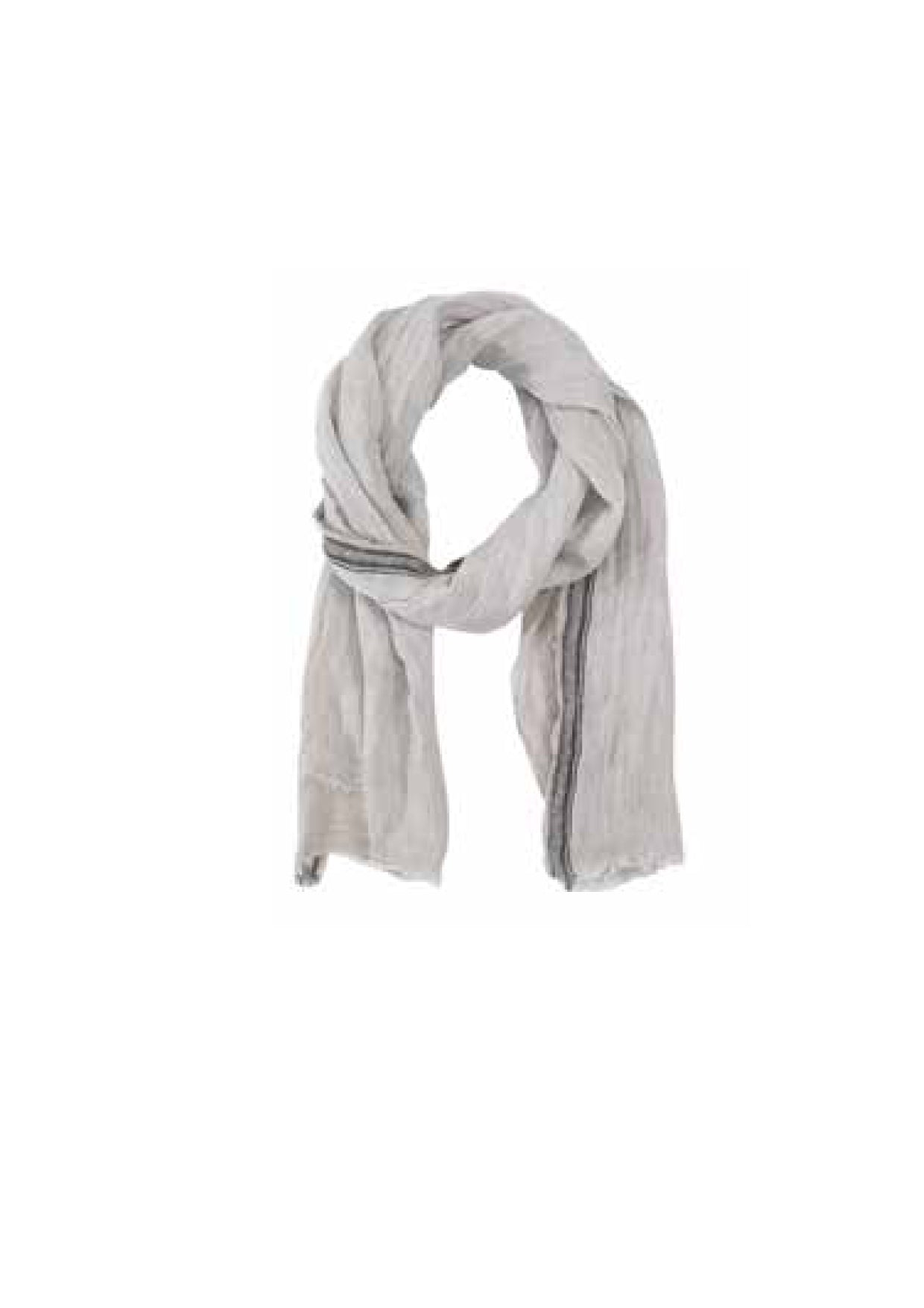 Linen Striped Scarf- Pebble