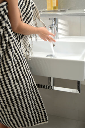Hand-woven Black & White Bath Towel