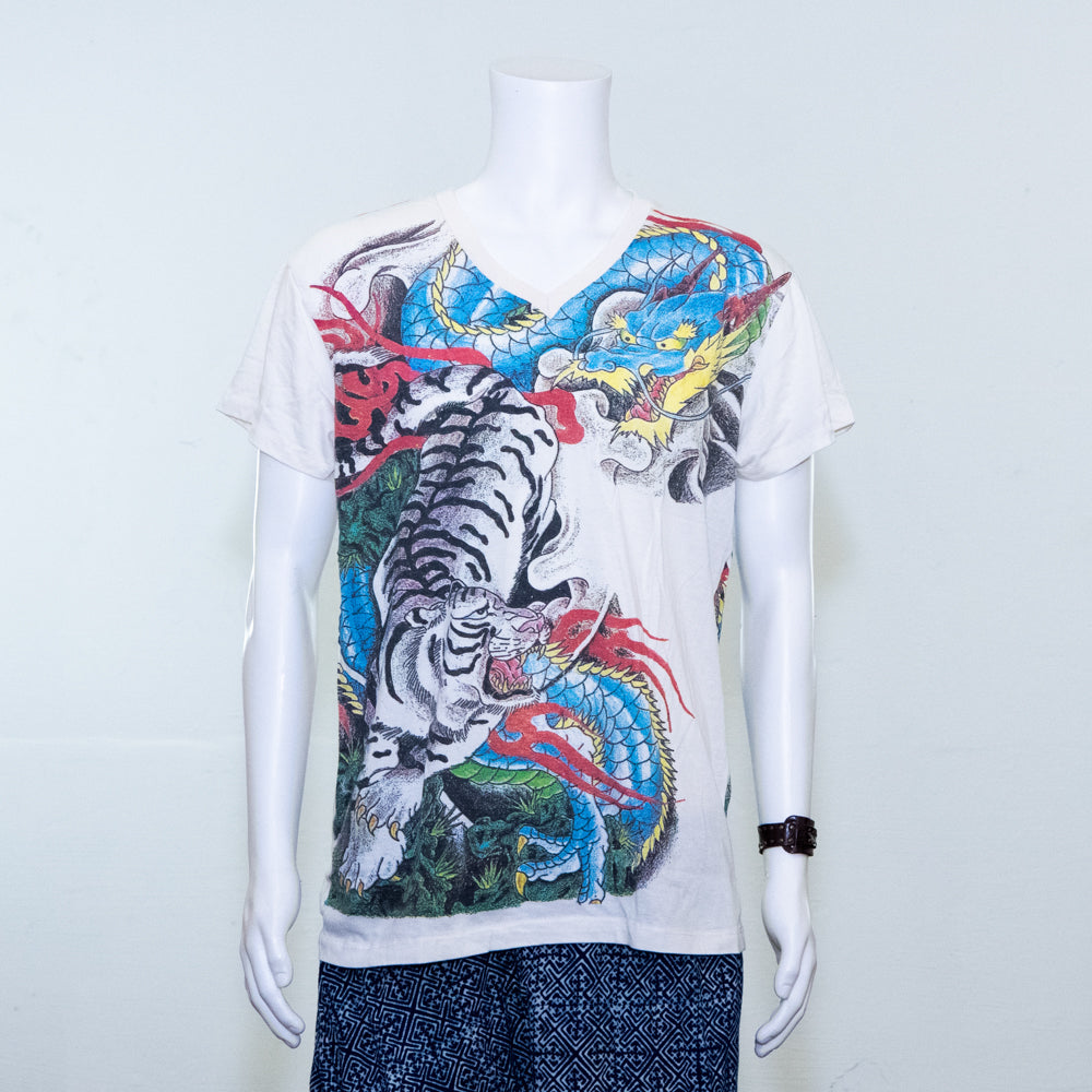 White Tiger and Dragon Print | Tshirt